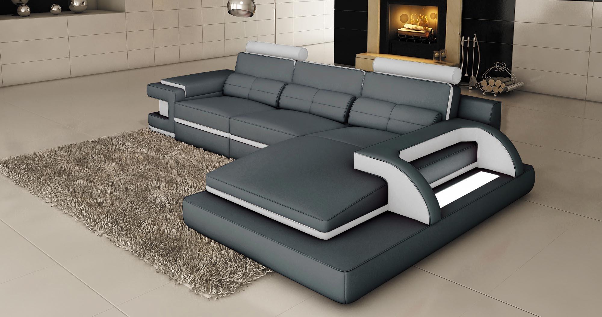 DECO IN PARIS 3 canape d angle cuir gris et blanc design