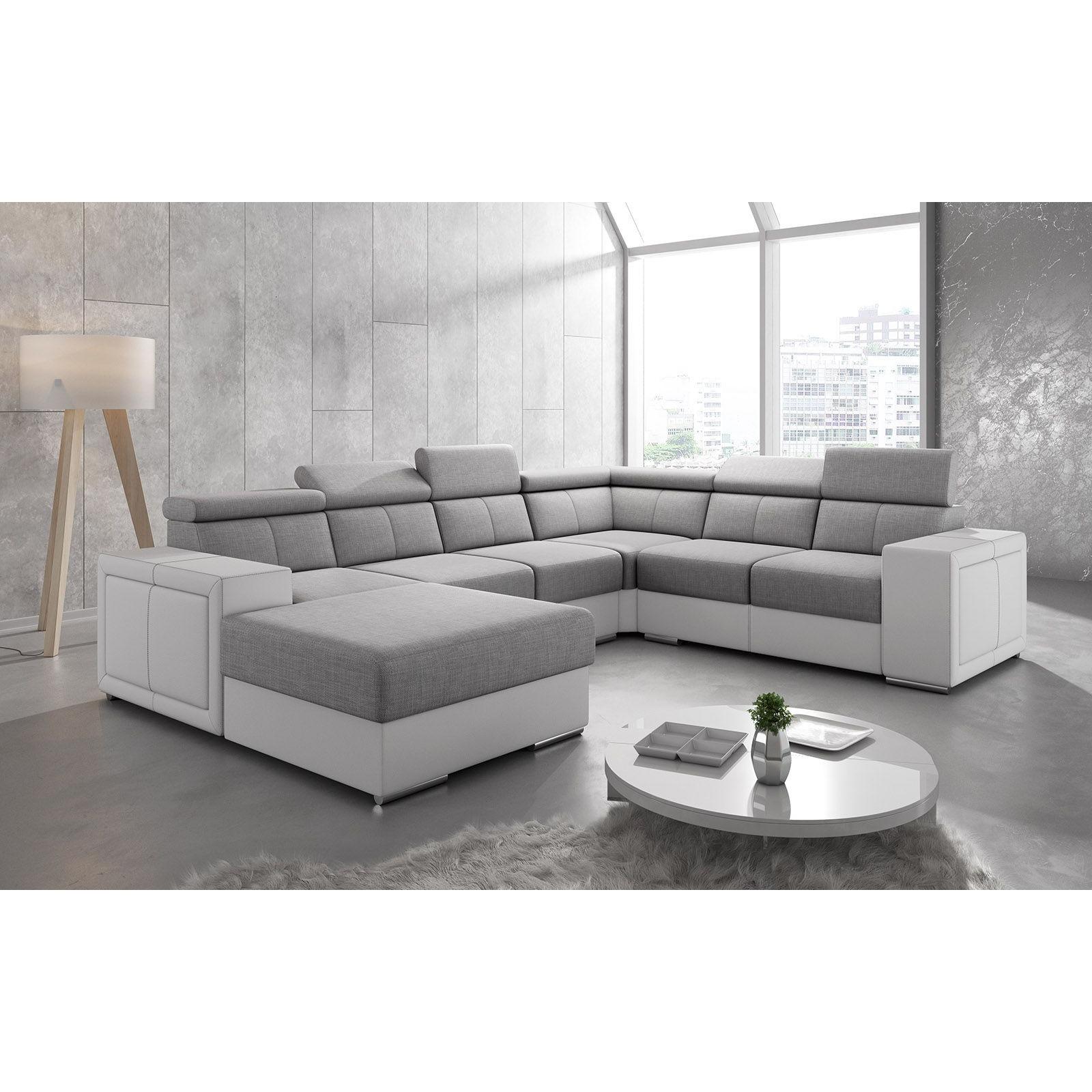 Salon Canapé d'angle moderne en tissu gris clair et