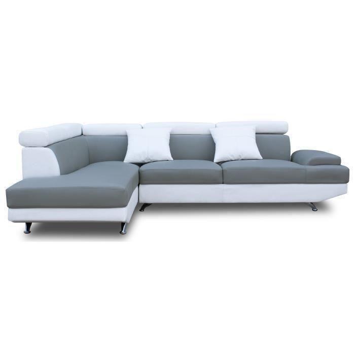 SCOOP Canapé d angle gauche 4 places Simili gris et