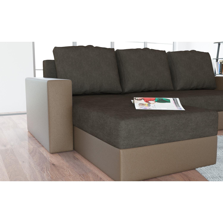 Canapé Angle Convertible Marron Salon Canapé D Angle Convertible En Simili Cuir Et Tissu