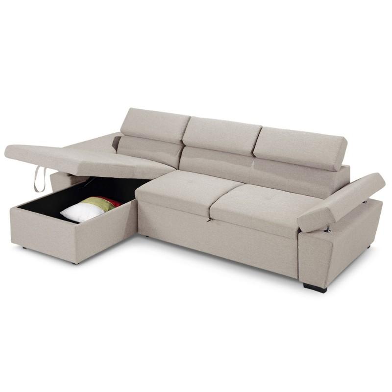Canapé d angle convertible avec coffre de rangement Tissu
