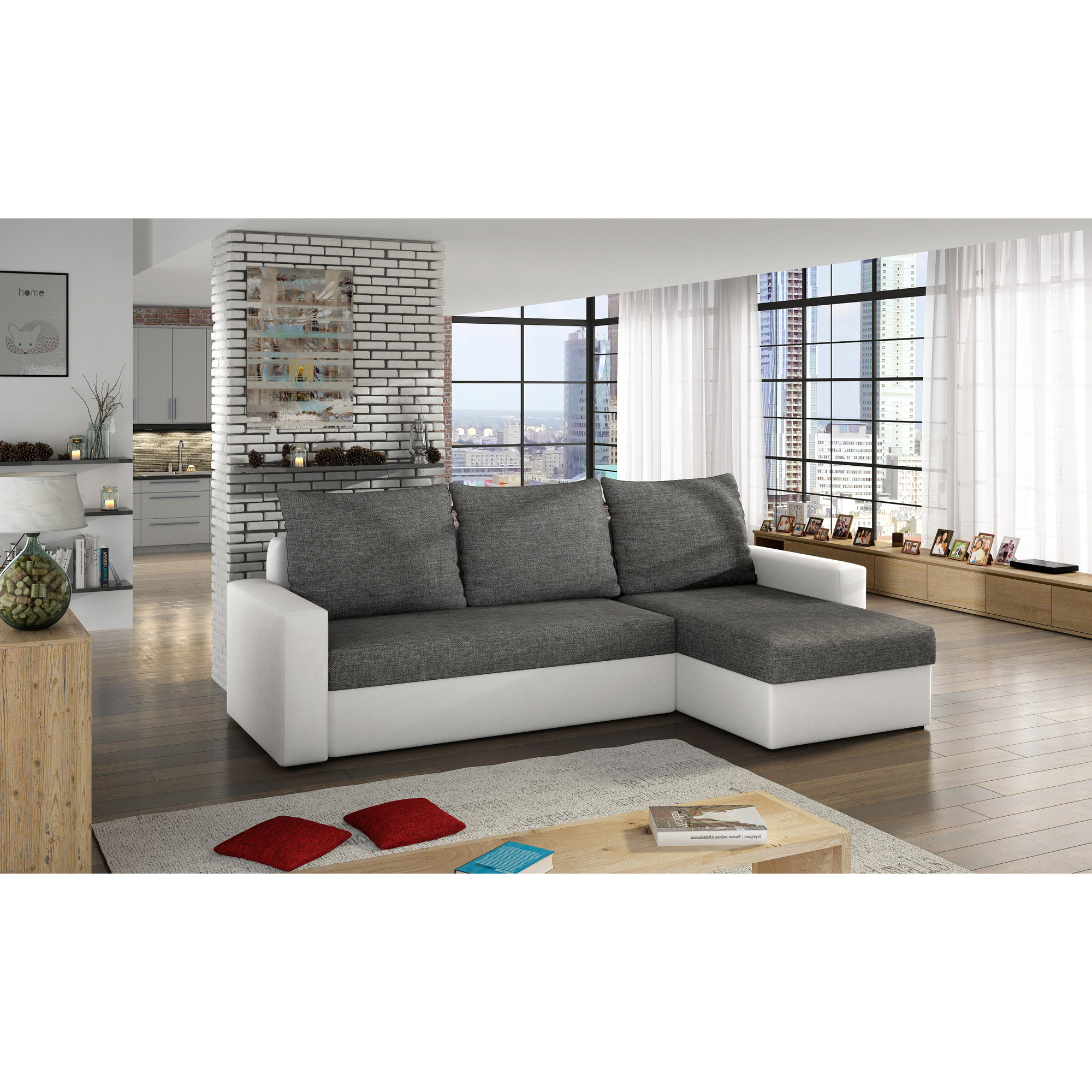Canapé d angle convertible 3 places en simili cuir blanc