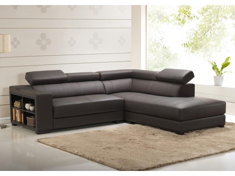 Canapé d angle en cuir de vachette 5 coloris LEEDS