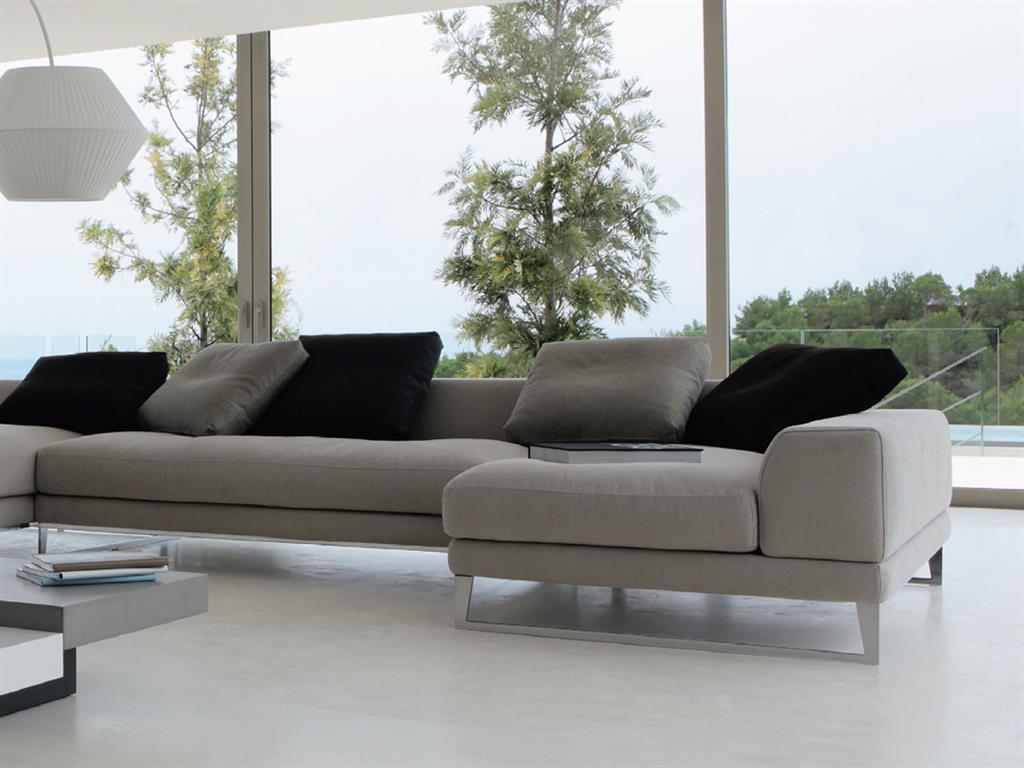 Grand canapé d angle Roche et Bobois en cuir gris ROCHE BOBOIS