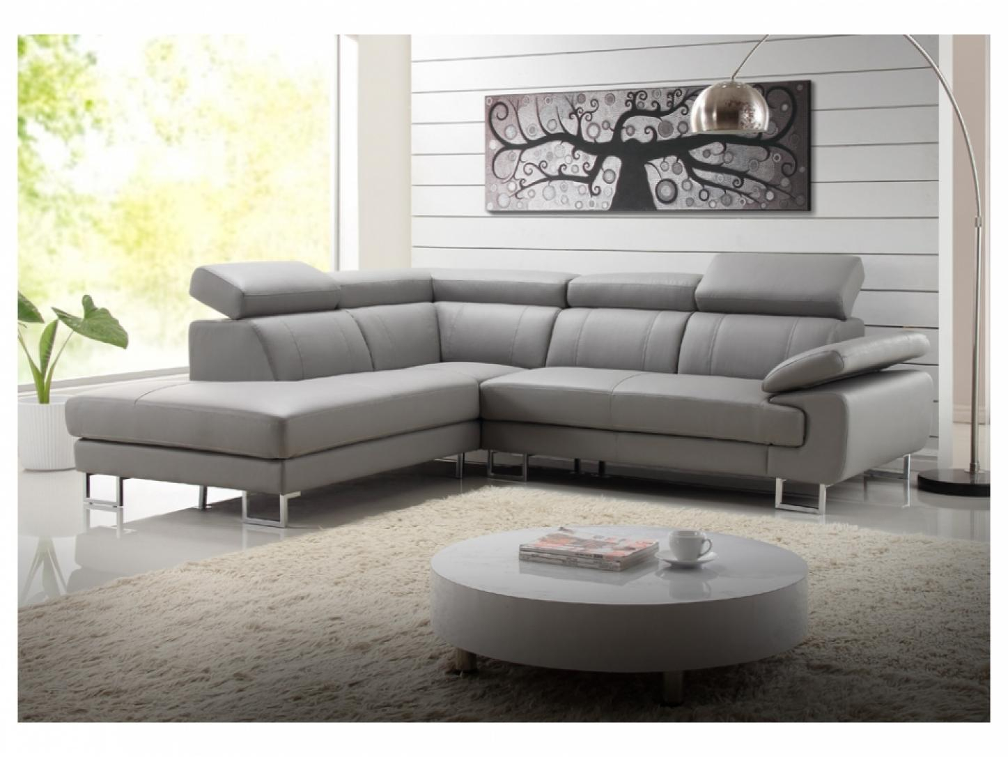 s canapé angle cuir gris