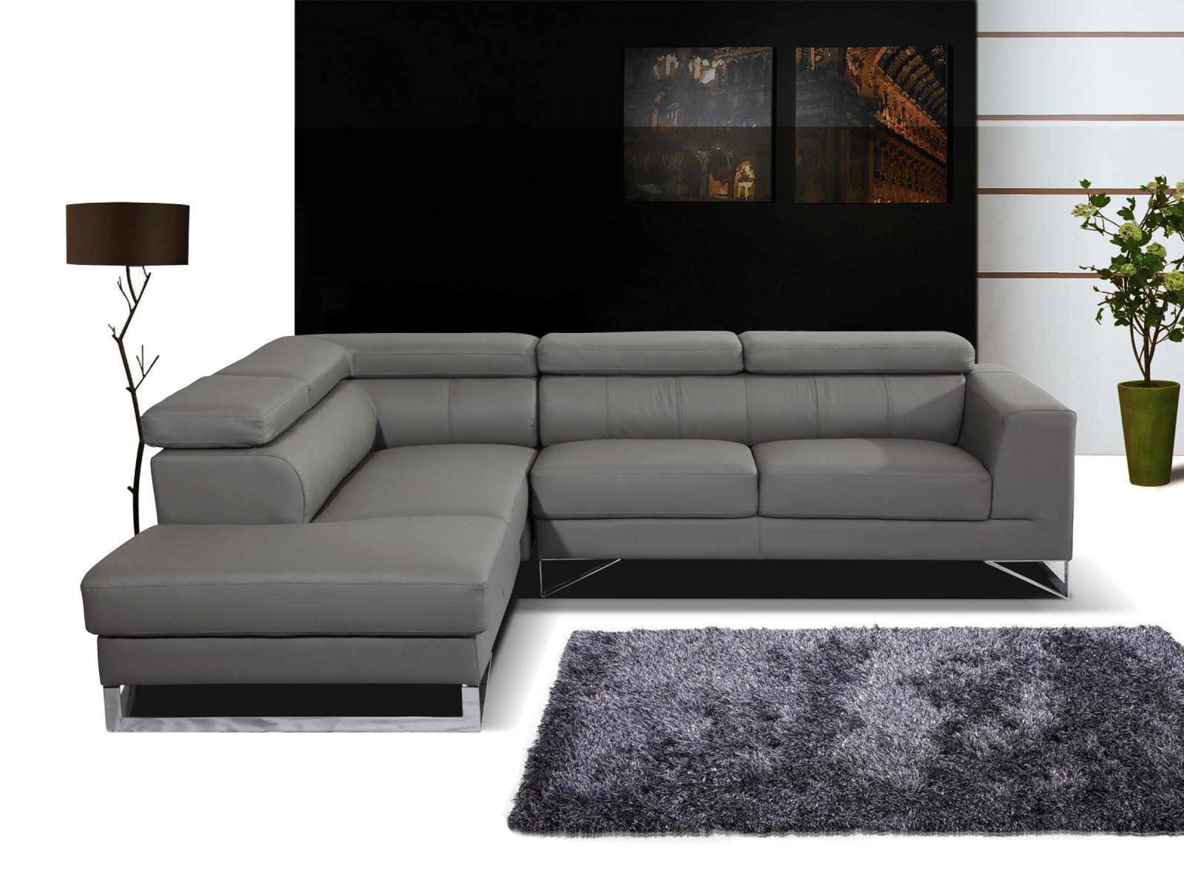 s canapé d angle cuir gris conforama