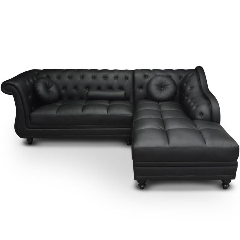 Canapé angle droit Simili Noir Chesterfield