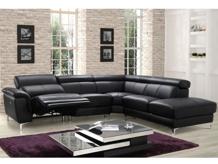Canapé angle relax électrique en cuir noir SITIA