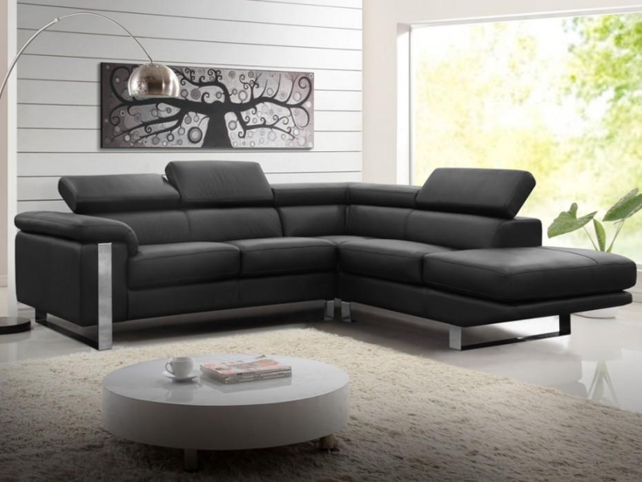 Canapé d angle en cuir ivoire Angle gauche MYSTIQUE