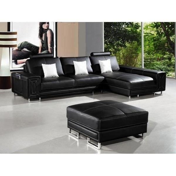 Canapé d angle en cuir noir avec méri nne Achat