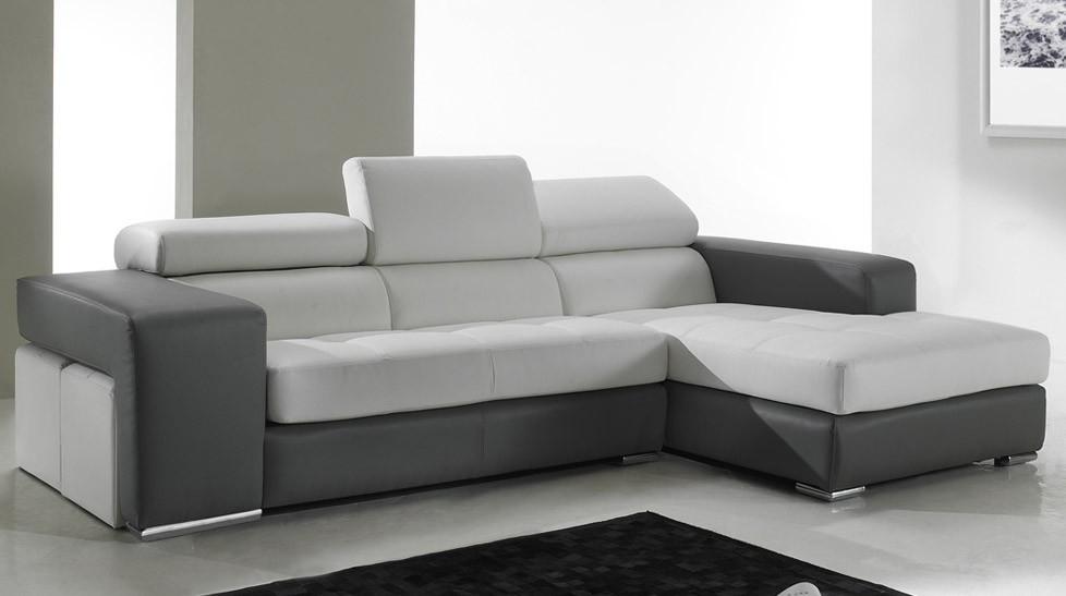 Canapé d angle en cuir noir et blanc pas cher Canapé
