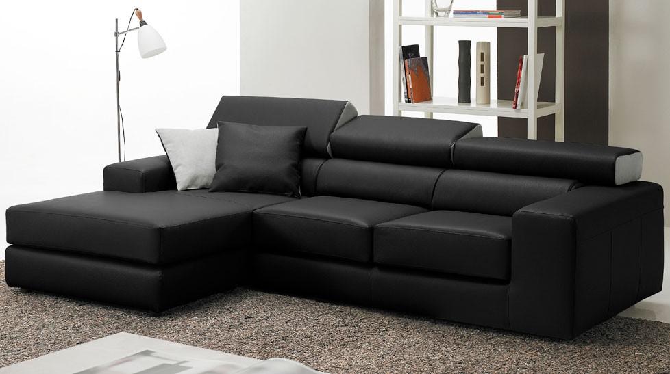 Canapé d angle en cuir noir haut de gamme Angle réversible