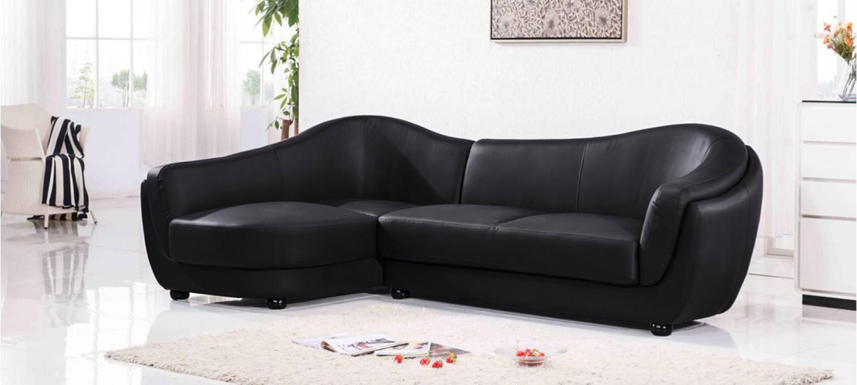 Canapé d angle gauche cuir noir Colorado