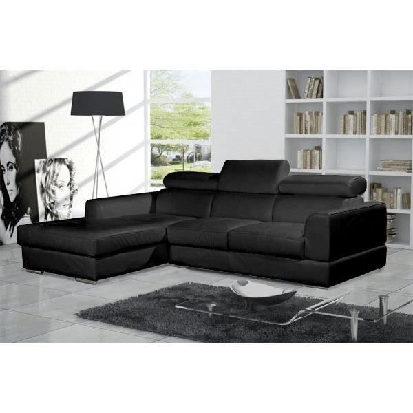 Canapé d angle moderne NETO noir cuir pas cher Achat