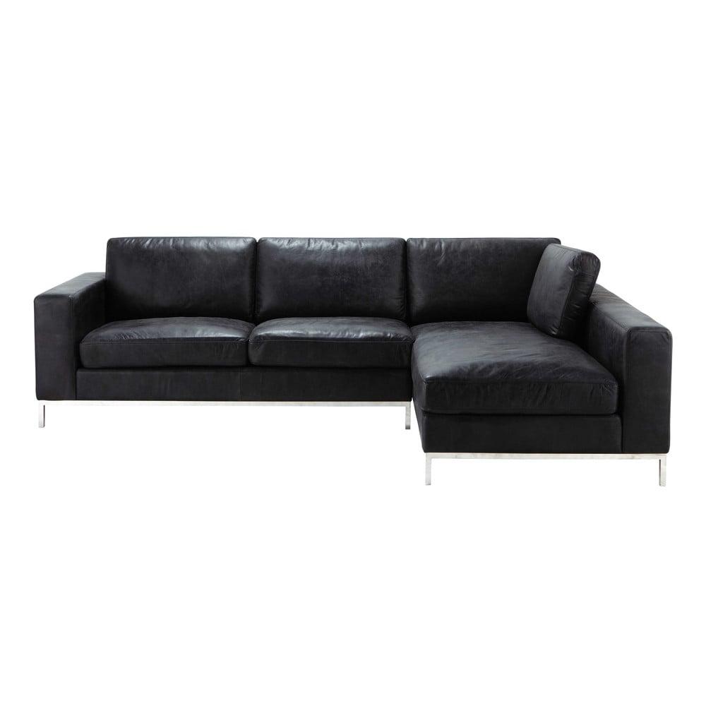 Canapé d angle vintage 4 places en cuir noir Jack