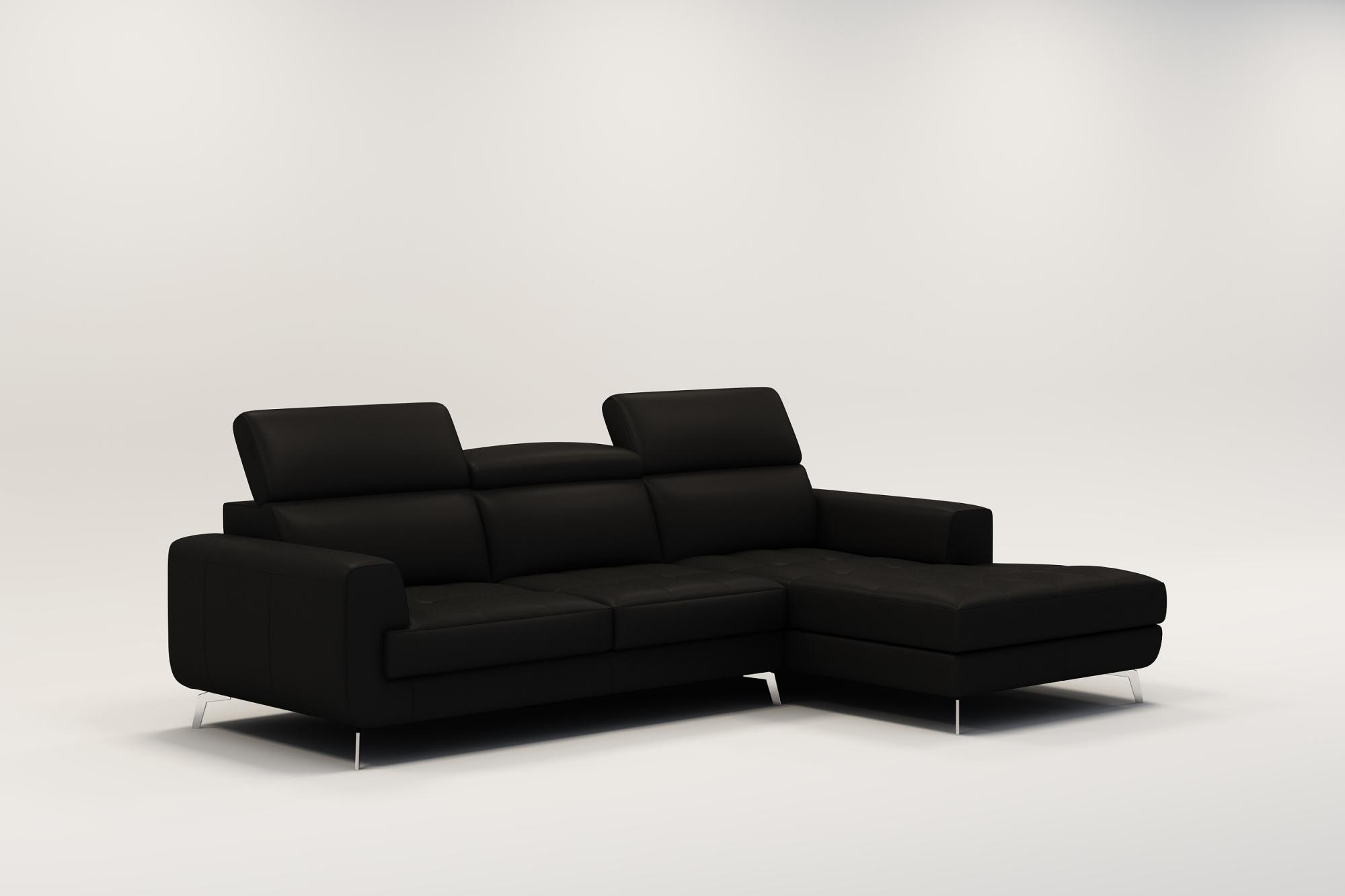 DECO IN PARIS Canape d angle design en cuir noir vogue