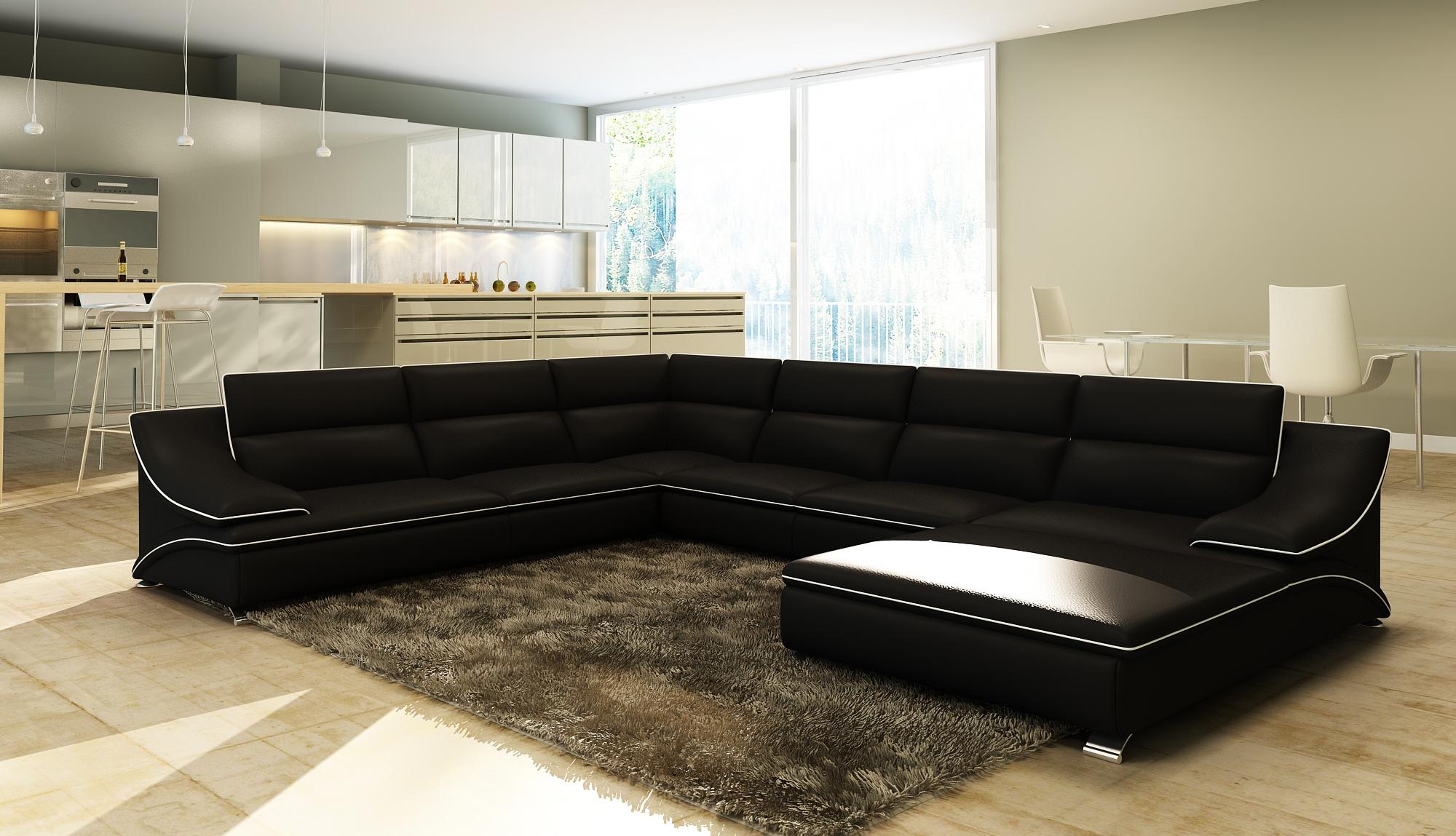 DECO IN PARIS Canape d angle en cuir noir et blanc
