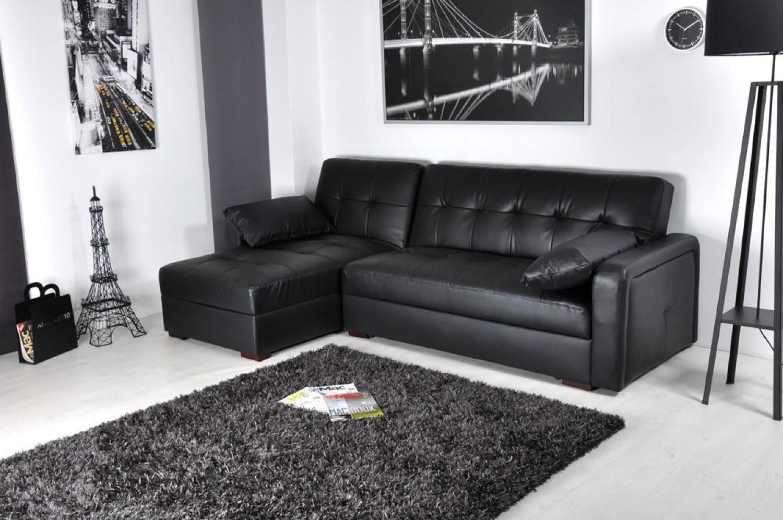 s canapé d angle convertible cuir noir