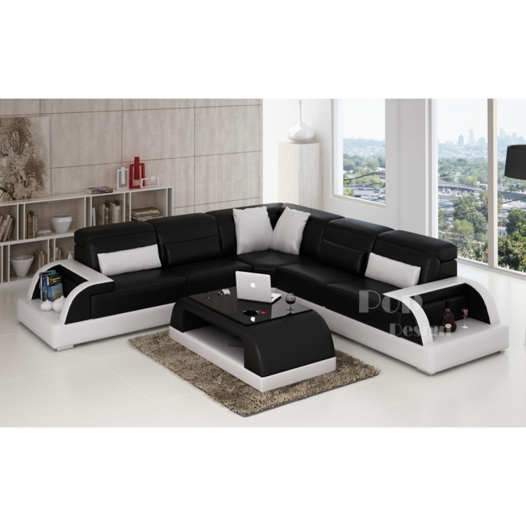 s canapé d angle cuir noir et blanc