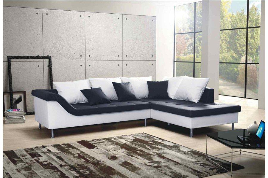 Canapé d angle design Elvis convertible Noir et blanc