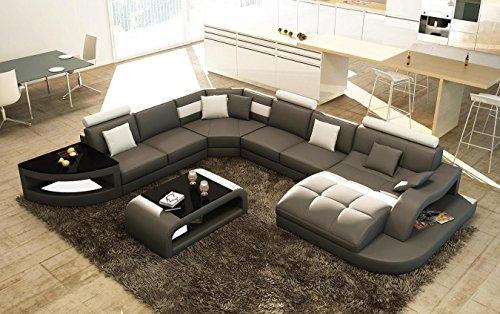 Canapé d angle design panoramique gris et blanc ISTANBUL