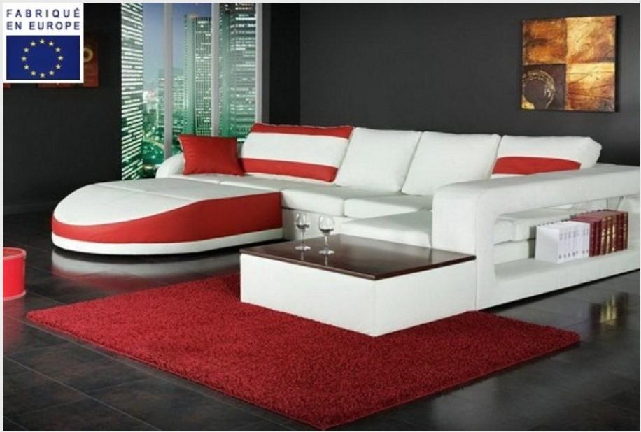Canapé d angle design simili blanc et rouge angle gauche