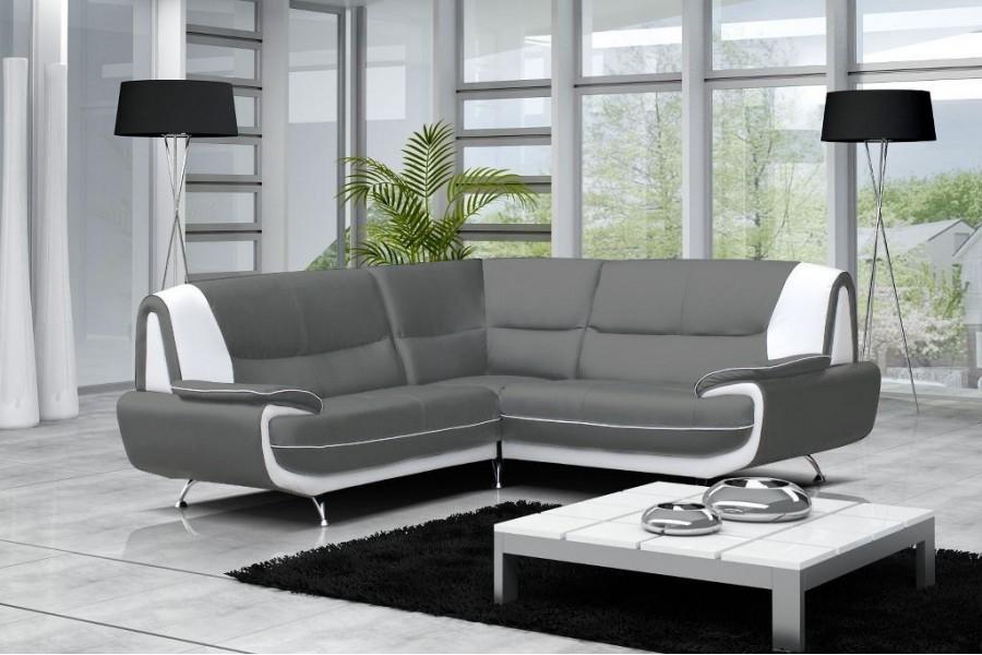Canapé moderne simili cuir Jenna réversible Gris Noir