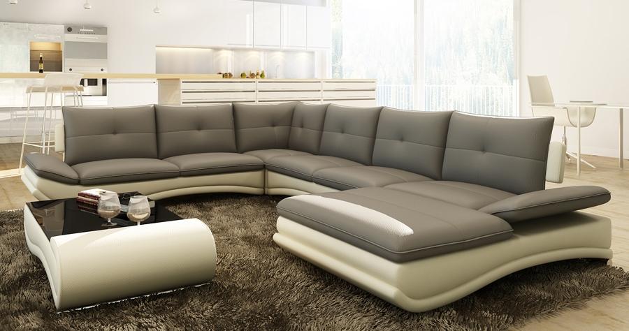DECO IN PARIS Canape d angle design panoramique gris et