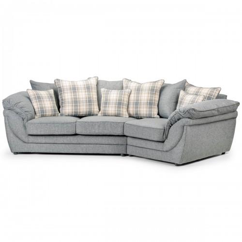 Canapé angle droit en tissu gris avec coussins Chloé Dya