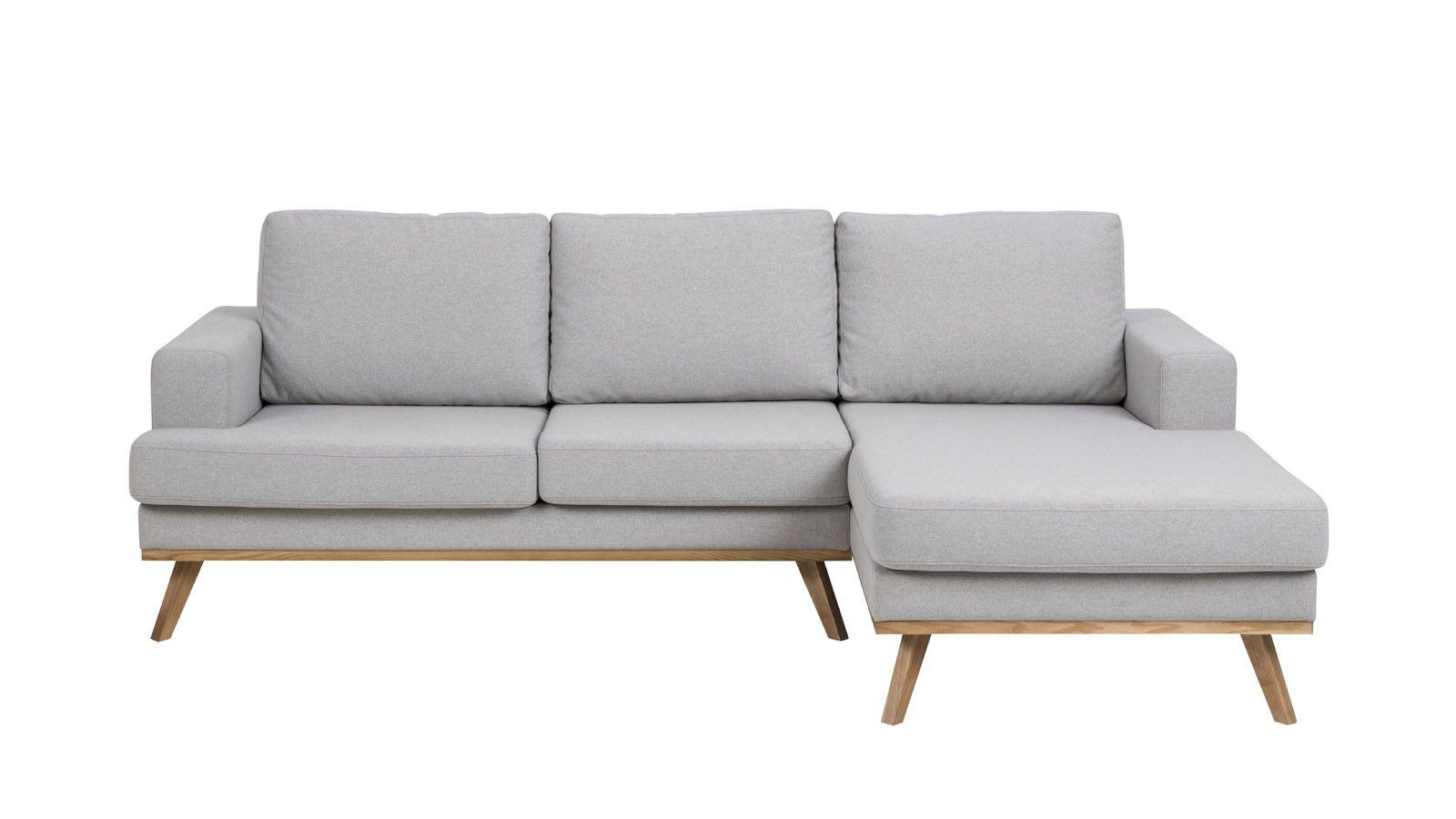 Canapé d angle droit 3 places et méri nne en tissu gris
