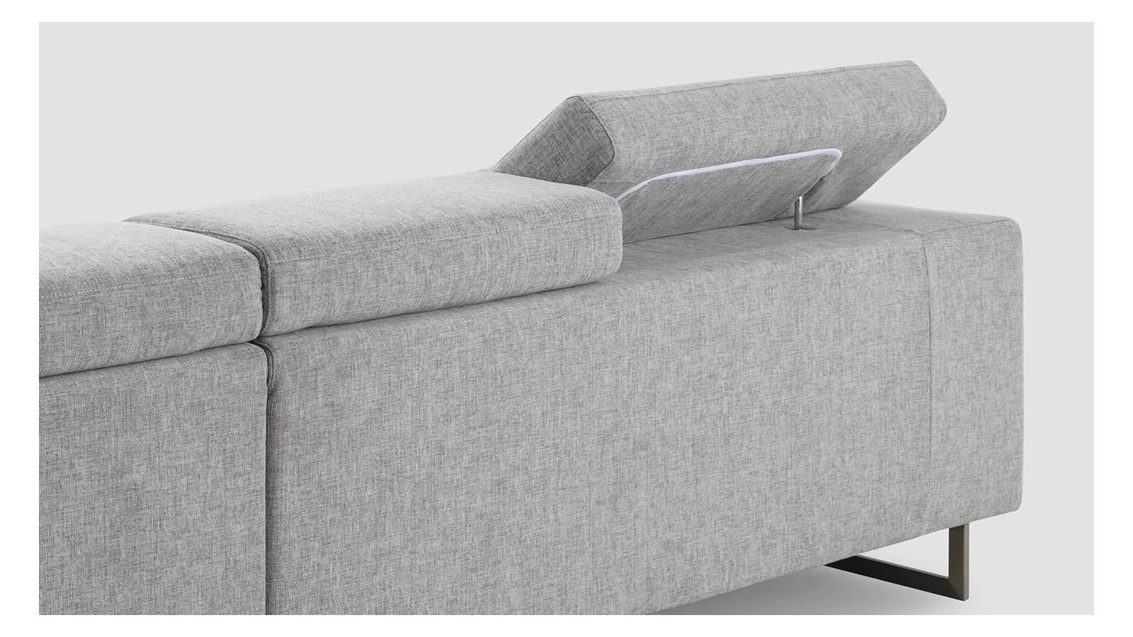 Canapé d angle droit 5 places en tissu gris clair