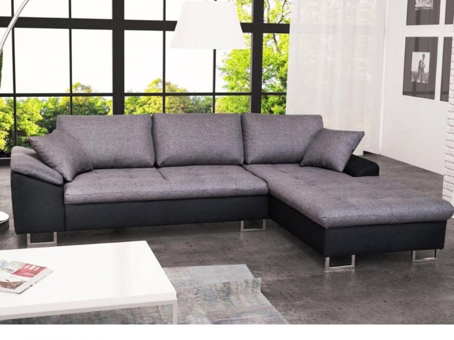 Canapé d angle droit en tissu Bicolore noir gris ALLEGRI II