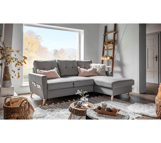 Canapé d angle droit scandinave tissu gris STOCKHOLM
