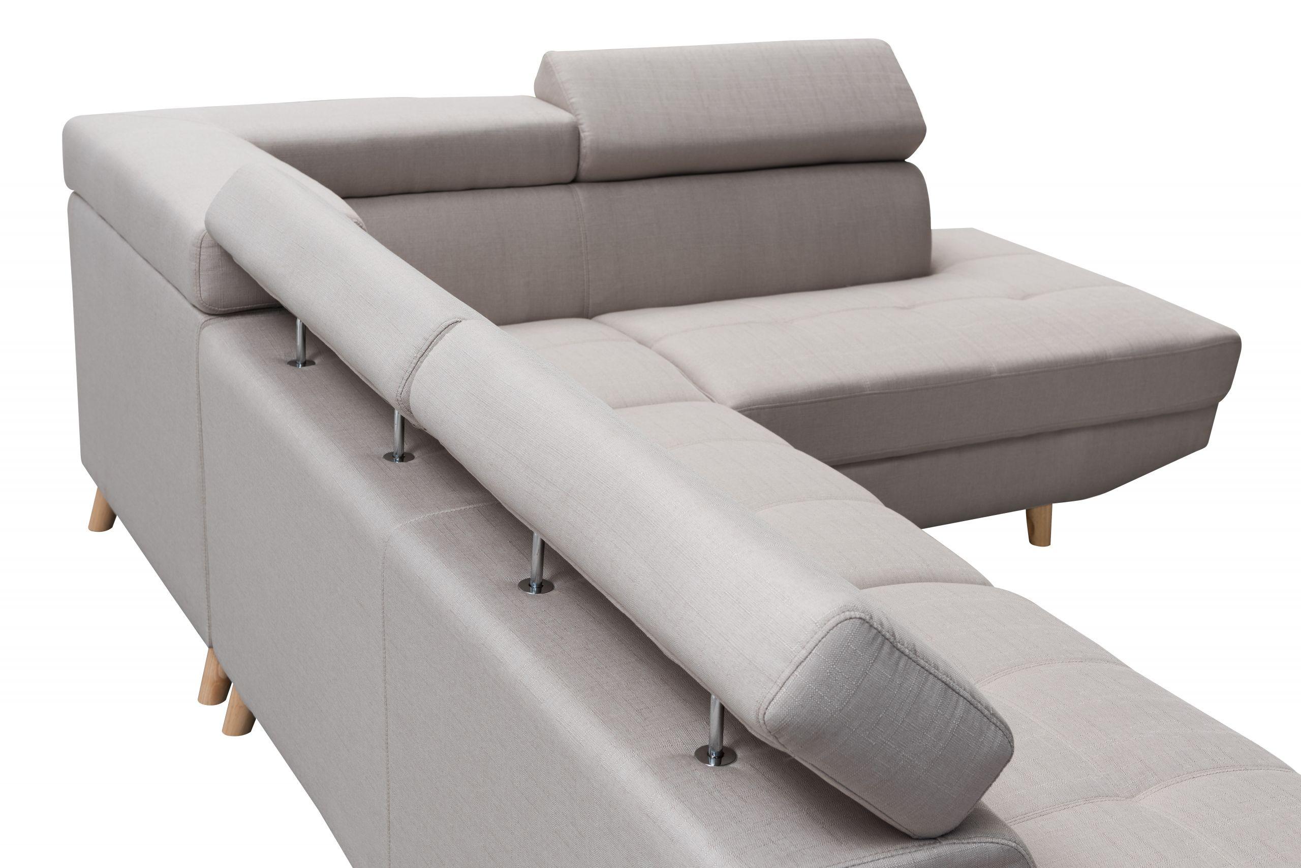 Canapé d angle droit style scandinave 4 places tissu beige