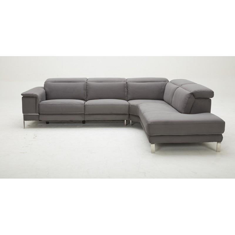 Canapé d angle droit tissu taupe relax motorisé avec