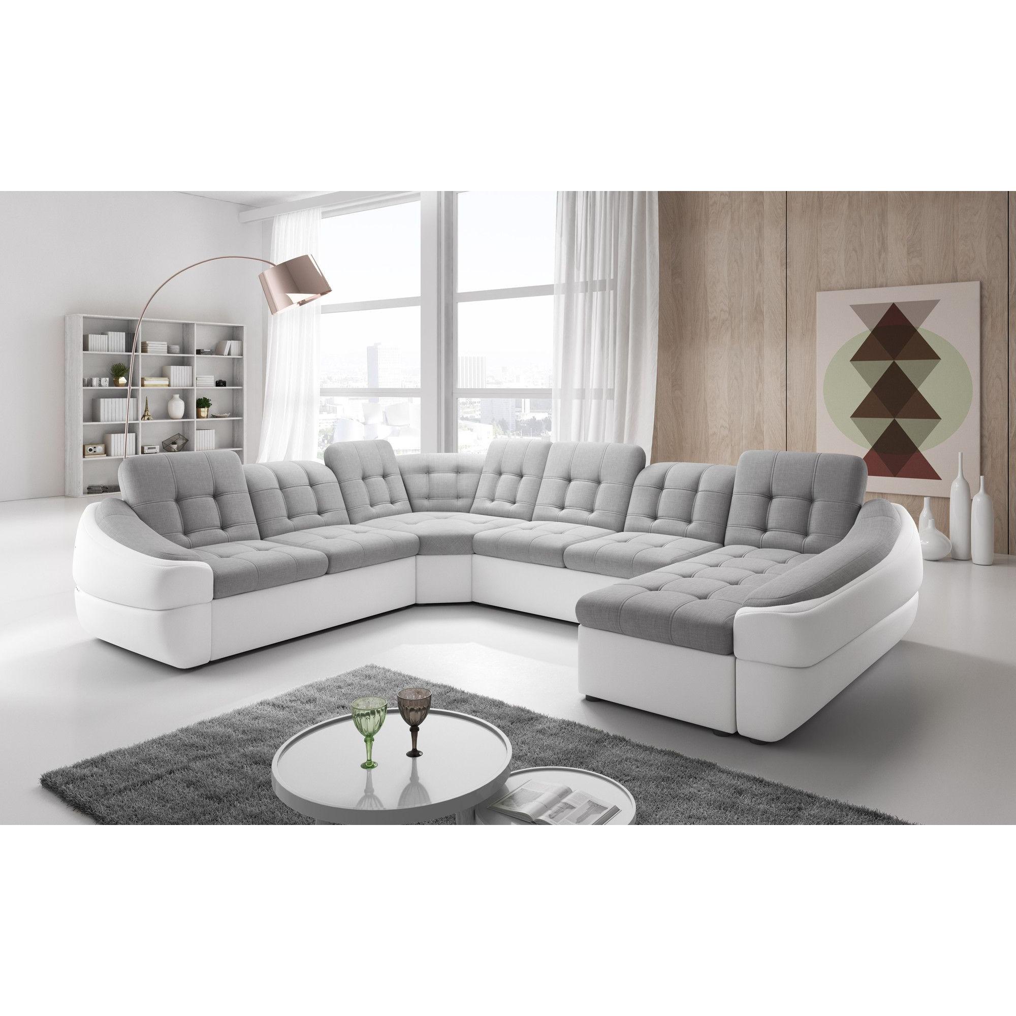 Salon Canapé d angle design en tissu et simili cuir avec