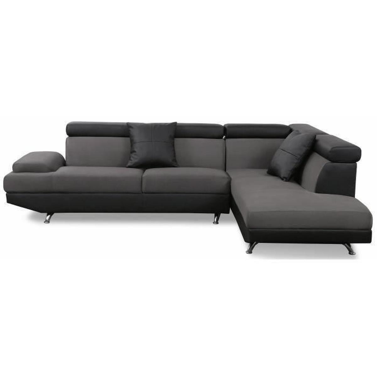 SCOOP Canapé d angle droit en simili et tissu 4 places