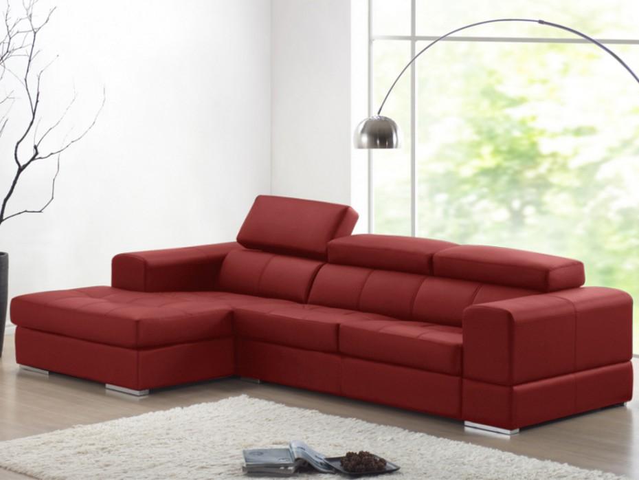 Canapé d angle cuir XXL rouge Angle gauche BALDINI II