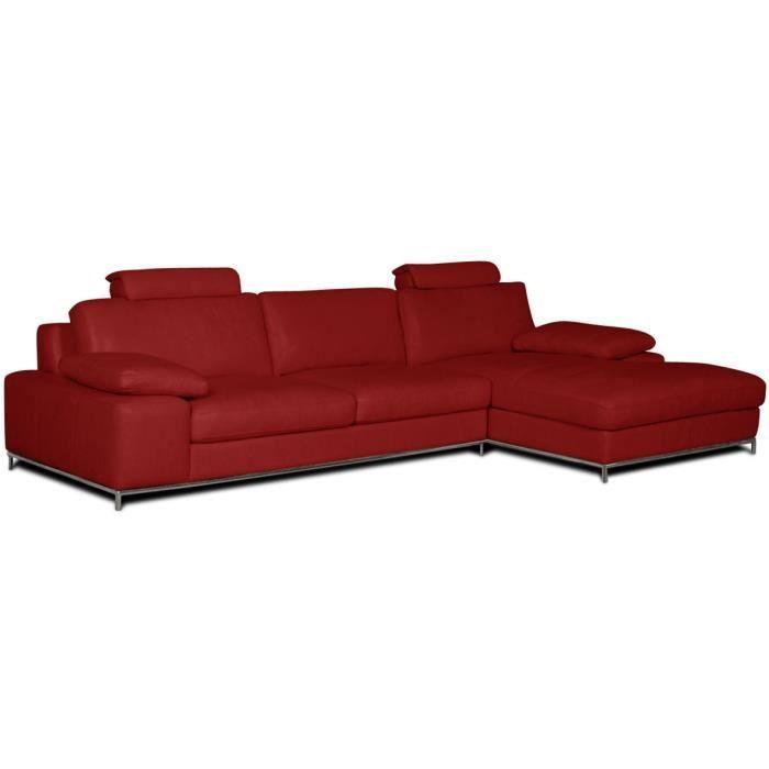 Canape d angle en cuir Angle Gauche Rouge Plus … Achat