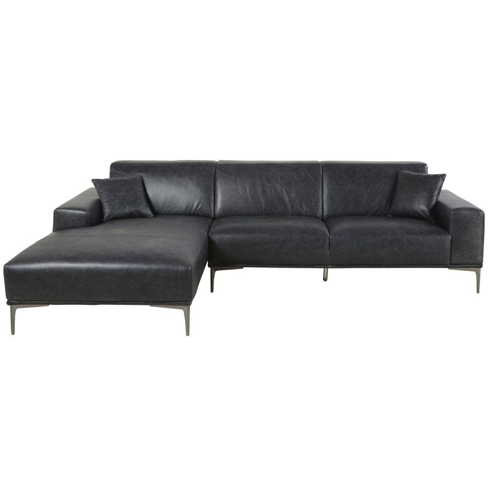 Canapé d angle gauche 5 places en cuir noir Tokyo