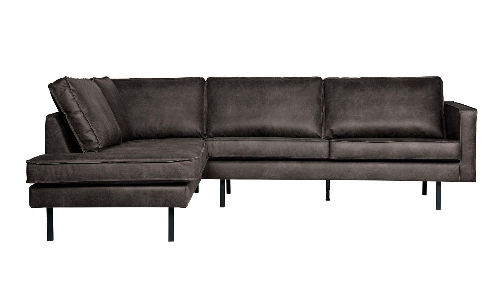 Canapé d angle gauche 6 places en cuir noir Collection