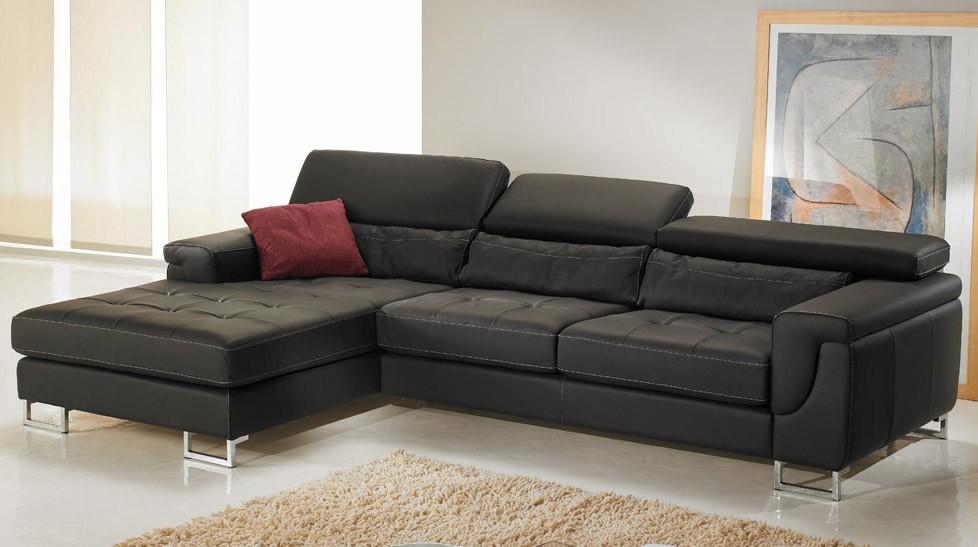 Canapé d angle gauche cuir noir pas cher