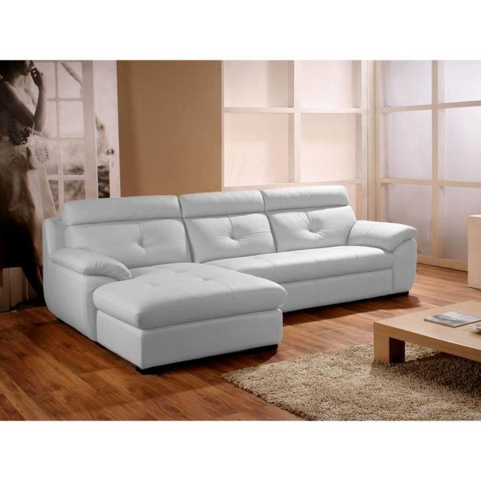 Canapé d angle gauche en cuir blanc DANA Achat Vente