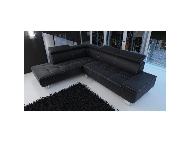 Canapé d angle moderne daylon simili cuir noir angle