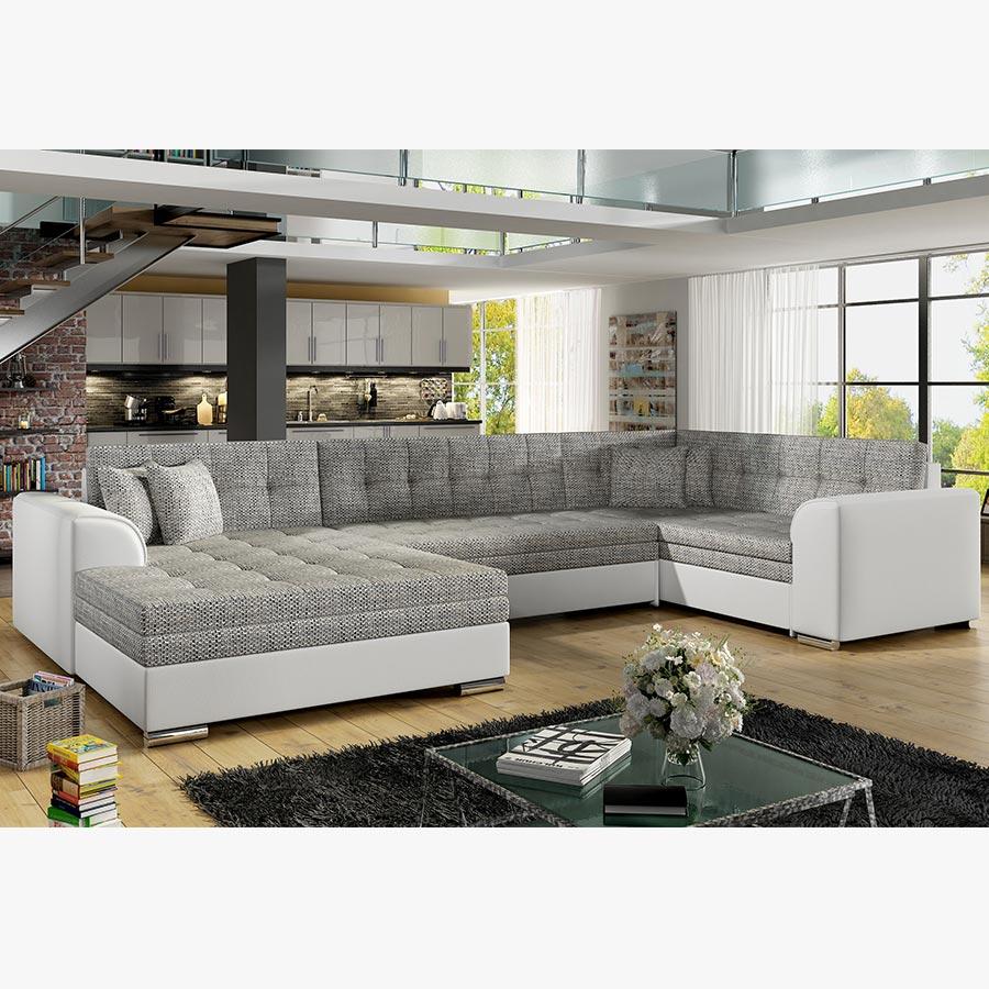 Canapé angle à gauche canapé convertible gris et blanc