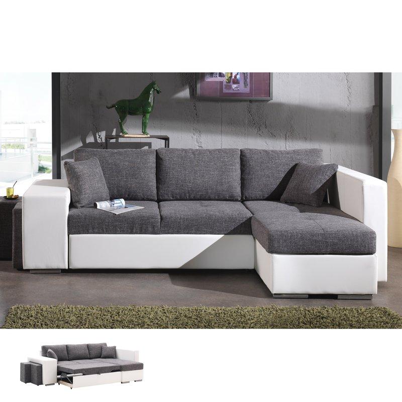 Canapé d angle à droite convertible gris et PVC blanc
