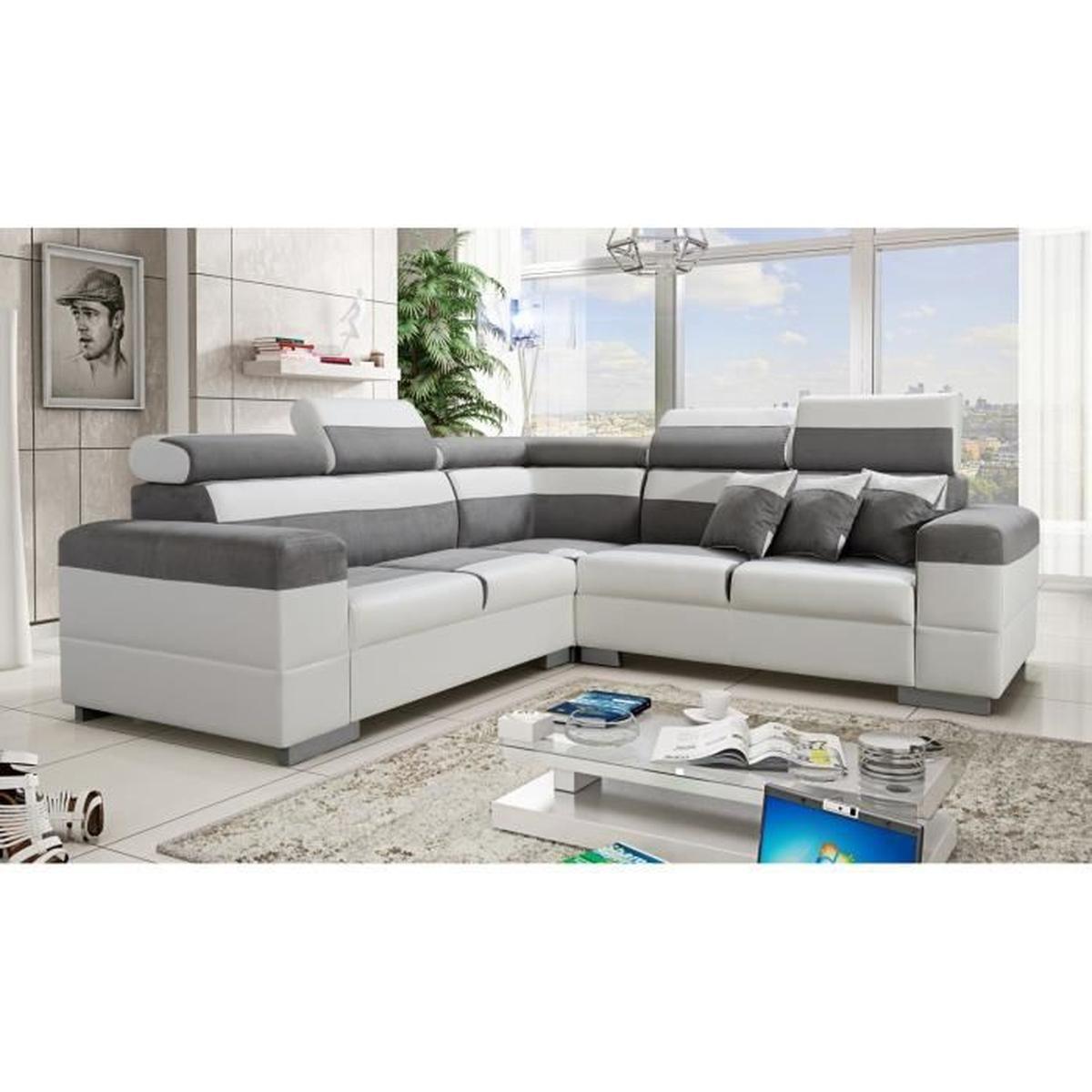Canapé d angle Colorado gris et blanc avec têtières