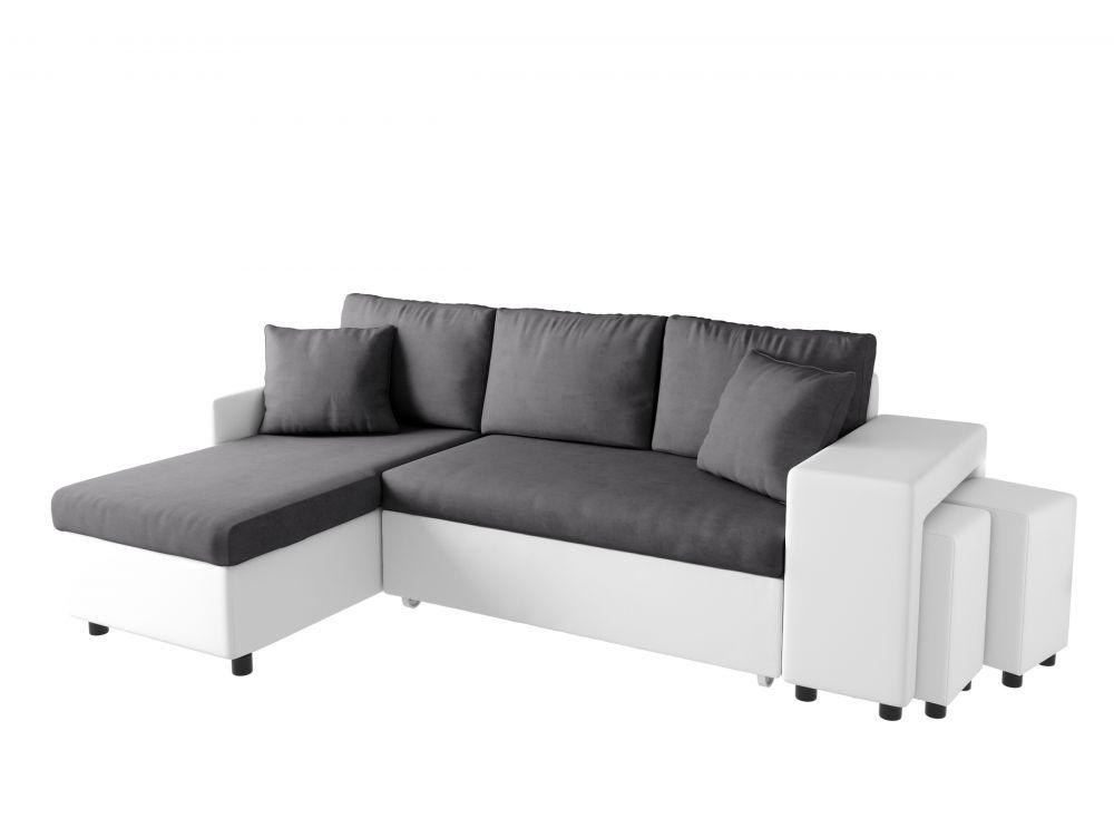 Canapé d angle convertible en lit avec poufs OSLO gris blanc
