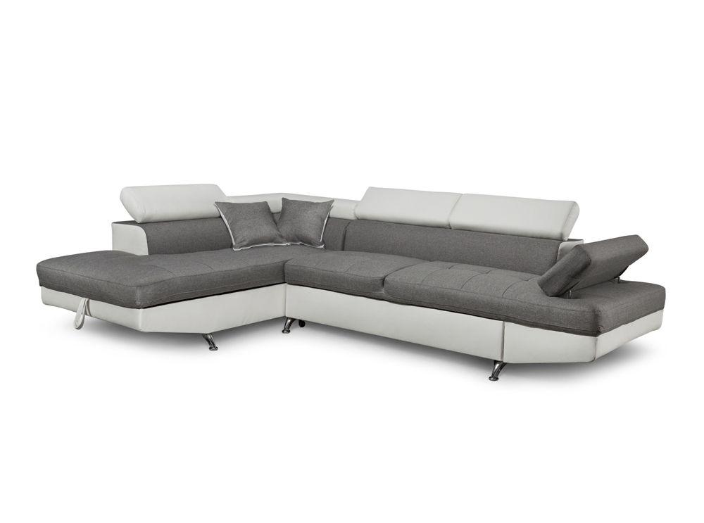 Canapé d angle en simili cuir et tissu gauche blanc gris