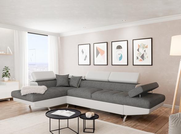 Canapé d Angle Gauche RIO Convertible avec coffre blanc gris